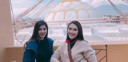 Tường Linh gặp lại Miss Intercontinental Nepal trong chuyến hành hương đầu năm