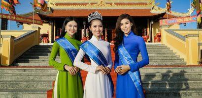 Top 3 'Hoa hậu Biển VN Toàn cầu 2018' diện áo dài, dâng hương Giỗ Tổ Hùng Vương