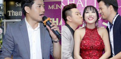 Quý Bình lẻ loi, Đoàn Thanh Tài và Quốc Đại 'cưỡng hôn' Phi Thanh Vân tại sự kiện