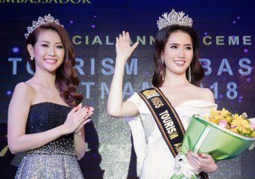 Phan Thị Mơ được trao vương miện thi 'Hoa hậu Đại sứ Du lịch Thế giới' ngay trên sân khấu