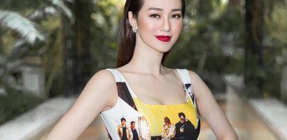Khánh My 'chơi trội', diện đầm in toàn hình ảnh Kwon Sang Woo dự sự kiện