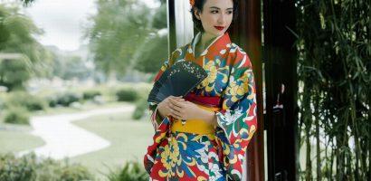 Hoa hậu Ngọc Diễm mặc Kimono duyên dáng không kém phụ nữ Nhật Bản