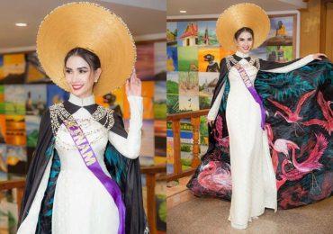 Phan Thị Mơ xuất sắc lọt Top 10 trang phục Eco Tourism với áo dài thêu hồng hạc ấn tượng