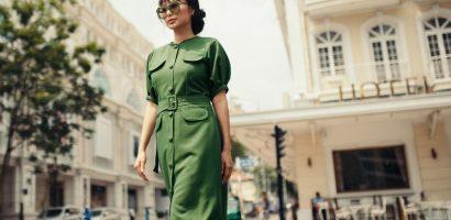 Hoa hậu Huỳnh Yến Trinh dạo phố với sắc xanh cá tính