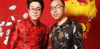 Nhạc sĩ Nguyễn Hồng Thuận và Bùi Anh Tuấn xúng xính áo dài mừng Tết Kỷ Hợi