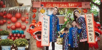 Đầu năm gia đình Đăng Khôi – Thủy Anh rủ nhau diện áo dài tông xuyệt tông đón Tết