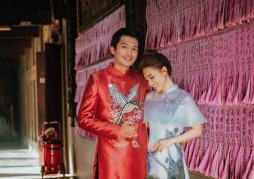 Vợ chồng Linh Phi – Quang Tuấn diện áo dài đôi e ấp ngày đầu xuân