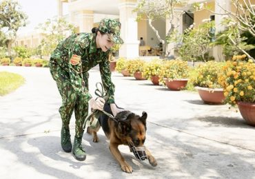 Trà Ngọc Hằng bất ngờ làm chiến sỹ, điều khiển chó nghiệp vụ điêu luyện