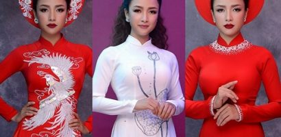 Diễn viên Lê Bê La làm mẫu áo dài cho cô dâu trong ngày cưới