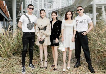 Minh Trung, Võ Cảnh tháp tùng Hoa hậu Hải Dương đến chúc mừng NTK Chung Thanh Phong