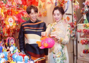 Hari Won – Park Jung Min diện áo dài đôi dạo phố Trung thu