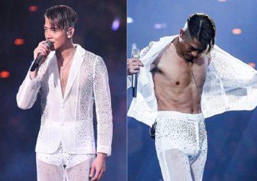 Quách Phú Thành cởi áo trên sân khấu