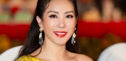 Hoa hậu Thu Hoài mặc đầm lệch vai quyến rũ, tự tin khoe sắc