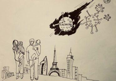 Họa sĩ Phạm Hồng Minh vẽ tranh cổ động kêu gọi cộng đồng đoàn kết chống Covid-19
