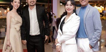 Thu Trang dịu dàng khoác tay Tiến Luật đi ủng hộ Kiều Minh Tuấn
