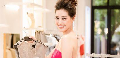 Hoa hậu Khánh Vân khoe nhan sắc rạng rỡ với sắc hồng