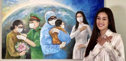 Bức tranh của Hoa hậu Khánh Vân vẽ đấu giá được 150 triệu