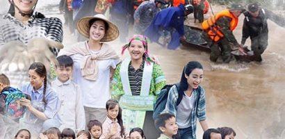3 nàng Hoa hậu của Việt Nam trao quà cho người dân gặp khó khăn sau bão lũ
