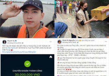 Sao Việt đồng loạt ủng hộ, giúp đỡ bà con miền Trung gặp thiên tai