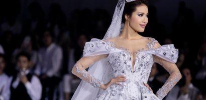 Minh Tú diện váy công chúa đính 50.000 viên pha lê, tự tin catwalk