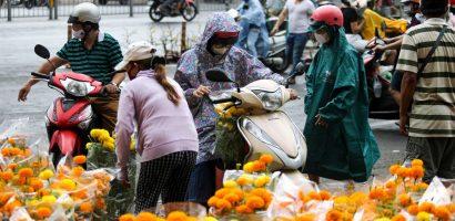Đội mưa mua hoa hạ giá ngày 30 Tết ở TP.HCM