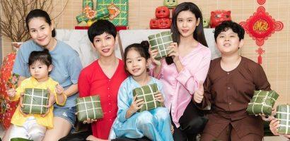 Trương Quỳnh Anh, Xuân Lan và Thân Thúy Hà cùng các con gói bánh chưng rôm rả đón Tết