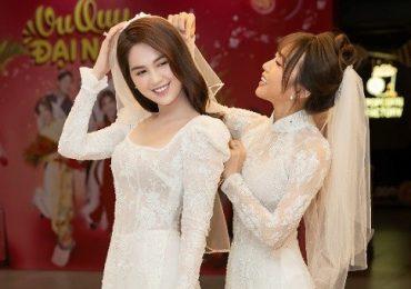 Diệu Nhi diện áo dài cưới, tự tin đọ dáng cùng Ngọc Trinh ra mắt 'Vu quy đại náo'