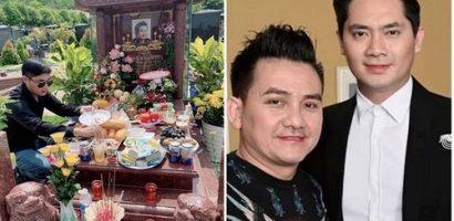 Minh Luân mang bia, thức ăn đến viếng mộ Anh Vũ dịp 49 ngày
