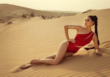 Diện bikini trên đồi cát, Hoa hậu Khánh Vân khoe vòng ba 95cm quyến rũ